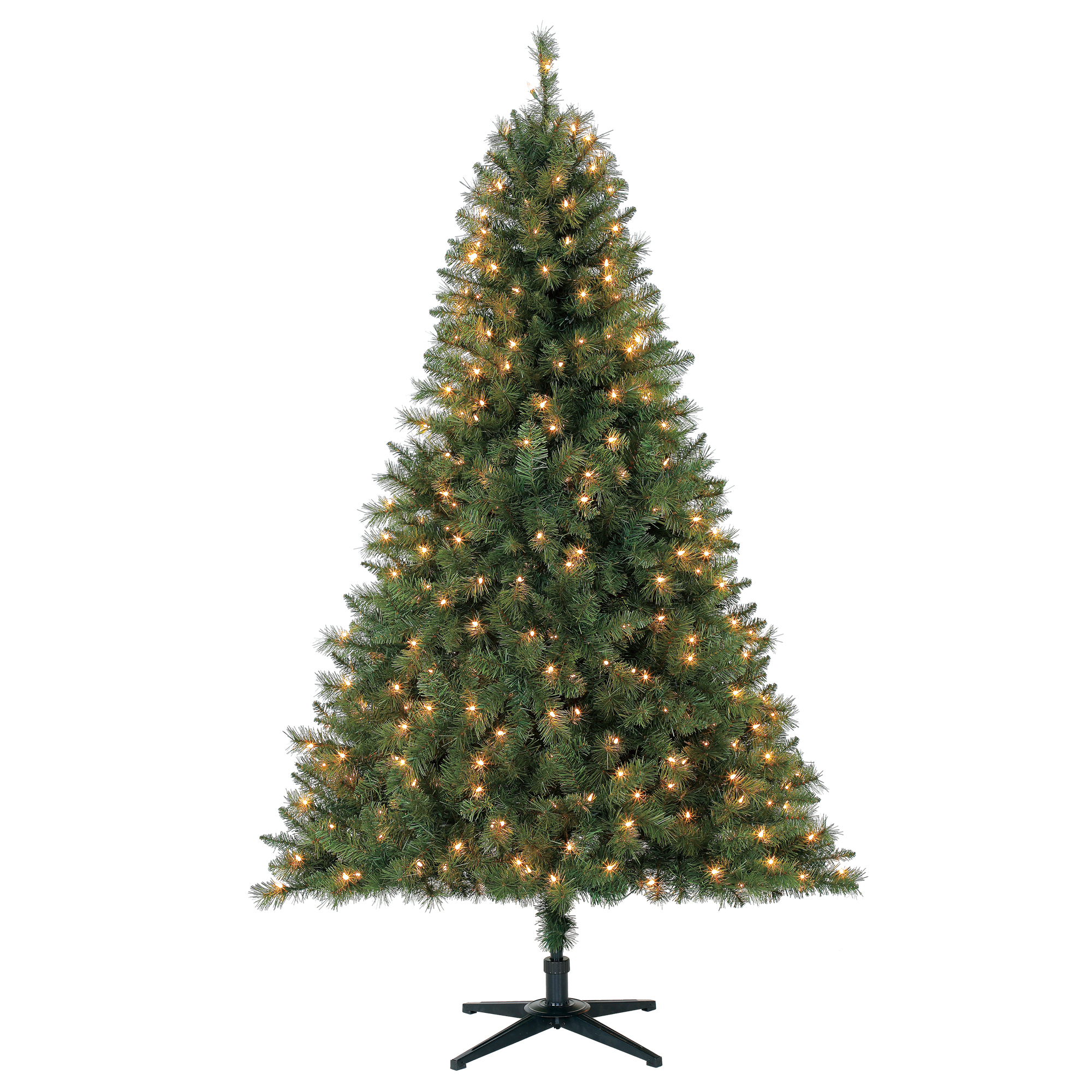 Holiday Time 6.5ft Pre-Lit Windham Pine Artificial Christmas Tree with 350 Clear Lights - Green