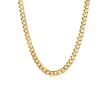 Gold Plated Stainless Steel Curb Chain Necklace (9mm) - 24 Chains Mens Gold Chain