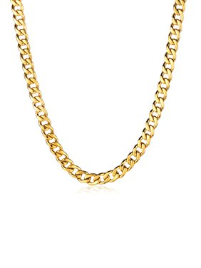 Gold Plated Stainless Steel Curb Chain Necklace (9mm) - 24
