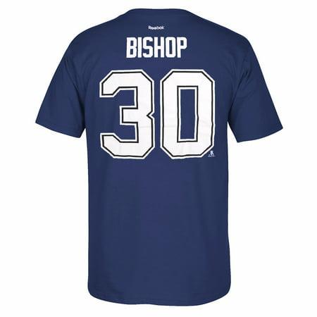 Ben Bishop Tampa Bay Lightning NHL Reebok Blue Official Premier Player Name & Number Jersey T-Shirt For Men (M)