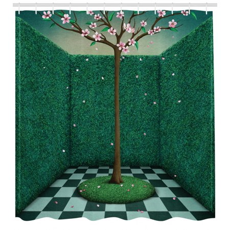 Mural Shower Curtain Japanese Pink Cherry Blossom Tree Surrounded By Outdoor Garden Maze Inspired Graphic