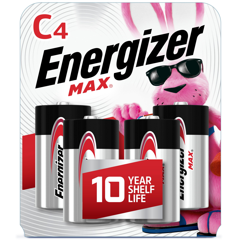 Energizer MAX C Batteries (4 Pack), C Cell Alkaline Batteries