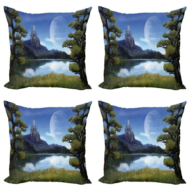 Fantasy Throw Pillow Cushion Case Pack Of 4 Moon Surreal Scene With Riverside Lake Forest And