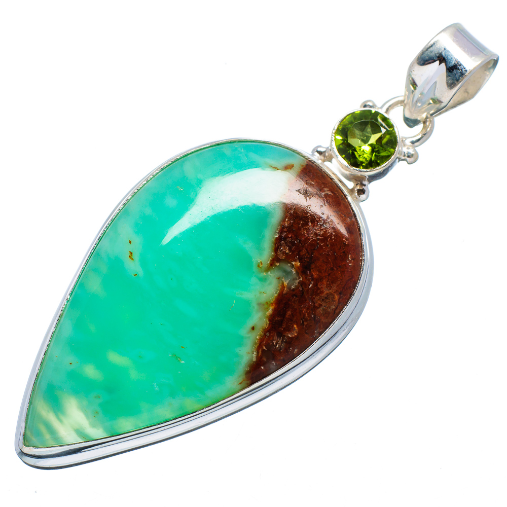 """Ana Silver Co Boulder Chrysoprase, Peridot 925 Sterling Silver Pendant 2 1 2"""" Handmade Jewelry PD619039 by Ana Silver Co."""