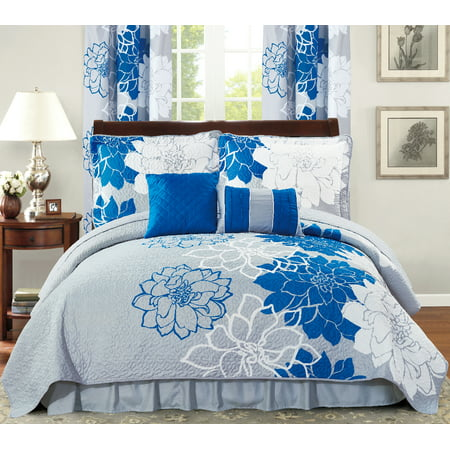 All American Collection New 4 Piece Printed Reversible Bedspread Set with Dust Ruffle (Blue/Grey, Twin Size) ()