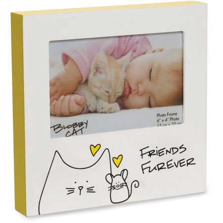 Pavilion - Friends Forever Kitty & Mouse Yellow 4x6 Self Standing Picture Frame (Yellow Picture Frame From Friends)
