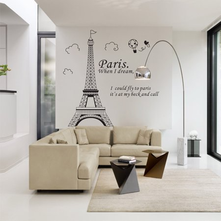 Romantic Paris Eiffel Tower Beautiful View of France DIY Wall Wallpaper Stickers Art Decor Mural Room -