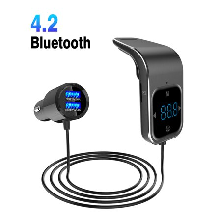 EEEkit  Bluetooth FM Transmitter Wireless in-Car  Radio Adapter Car Kit with Touch Control for Hands-Free Calling and 2 Ports USB Charger 5V/2.4A and 1A