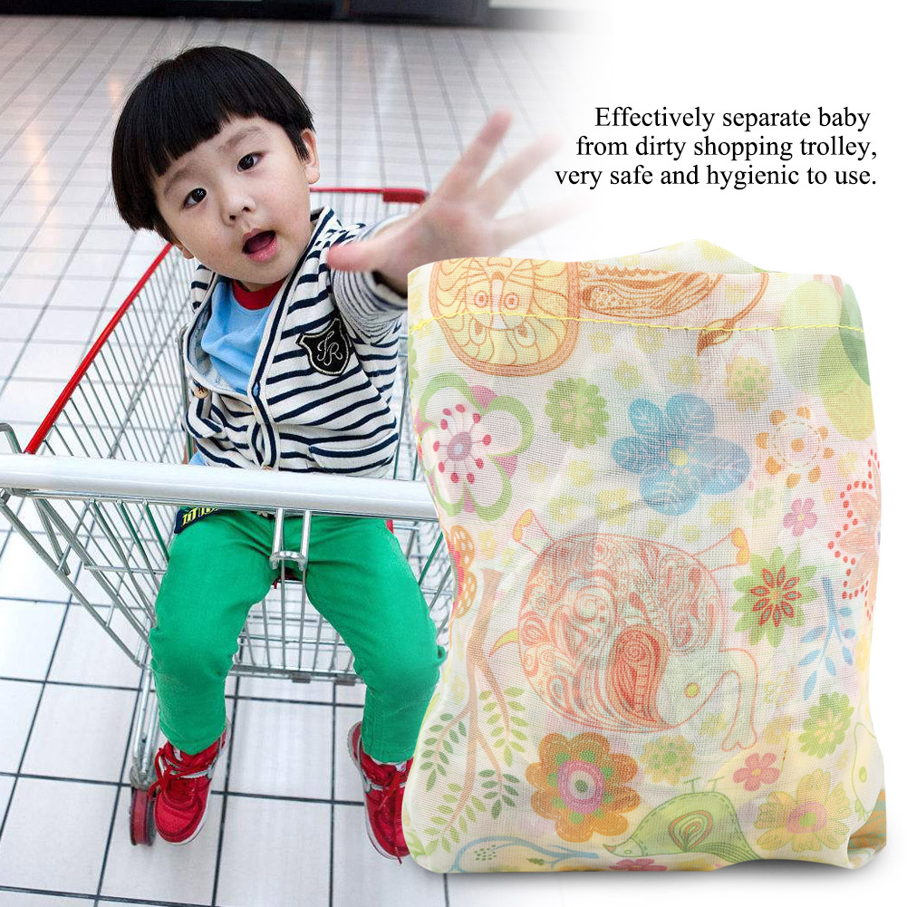Rockyin 1Pc Baby Children Folding Shopping Cart Cover Anti Dirty Kids Trolley Seat Chair Cover Blue