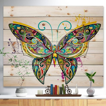 Multi Color Natural Wood - DESIGN ART Designart 'Openwork Butterfly' Bohemian Print on Natural Pine Wood - Multi-color
