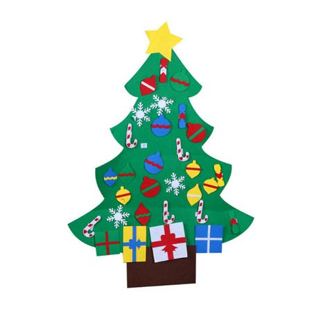 Felt Christmas Tree Craft Kit, 3.9ft, 26 Ornaments, Door Wall Hanging Decorations Kids DIY Educational Gift ()