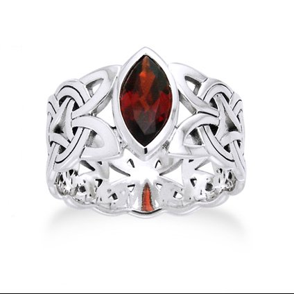 Borre Knot Garnet Ellipse Viking Braided Wedding Band Norse Celtic Sterling Silver Ring (Braided Wedding Ring)