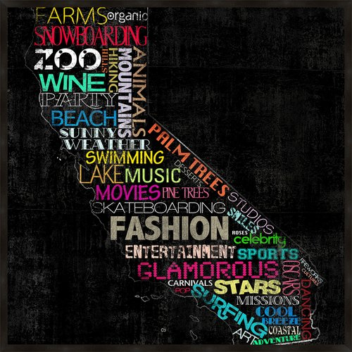 PTM Images California Typography Framed Graphic Art