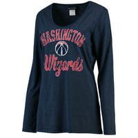 Washington Wizards New Era Women's Distressed Logo Tri-Blend Long Sleeve T-Shirt - Navy