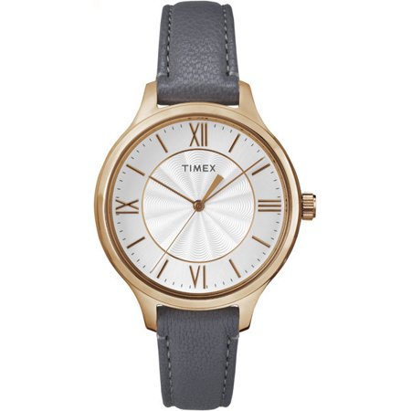 Timex Women's Peyton 36mm Leather Strap |Gray| Dress Watch TW2R27700 (Rose Gold Timex Watch)
