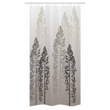 Country Stall Shower Curtain, Pine Trees in the Forest on Foggy Seem Ombre Backdrop Wildlife Adventure Artwork, Fabric Bathroom Set with Hooks, 36W X 72L Inches Long, Warm Taupe, by Ambesonne