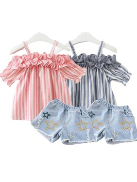 2Pcs Kid Girl Clothing Summer Baby Girls Off Shoulder Striped Crop Tops Jeans Short Children Girl Toddler Casual Outfits Set