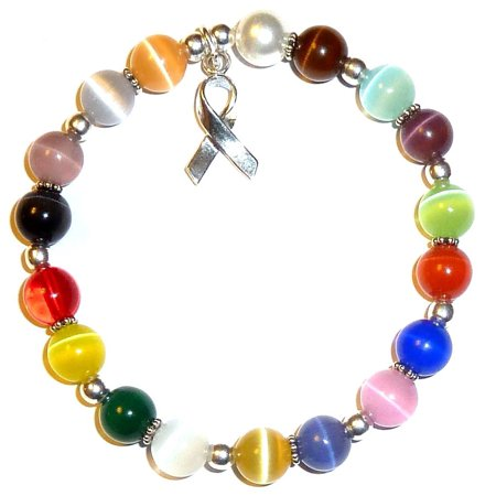 .925 Sterling Silver Multi Cancer Awareness Bracelet by Hidden Hollow Beads - Stretch Bracelet Fits All - 8mm - Als Bracelet
