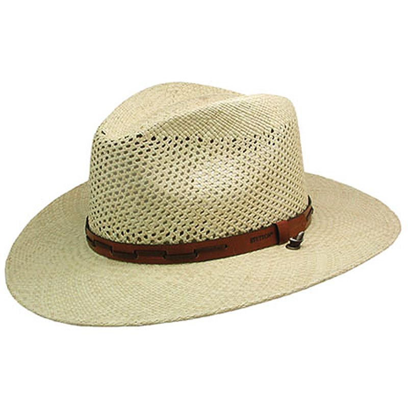 SMALL STETSON NATURAL AIRWAY PANAMA STRAW HAT W/ LEATHER ...