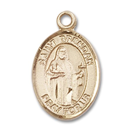 14kt Yellow Gold St. Brendan the Navigator Medal 1/2 x 1/4 inches