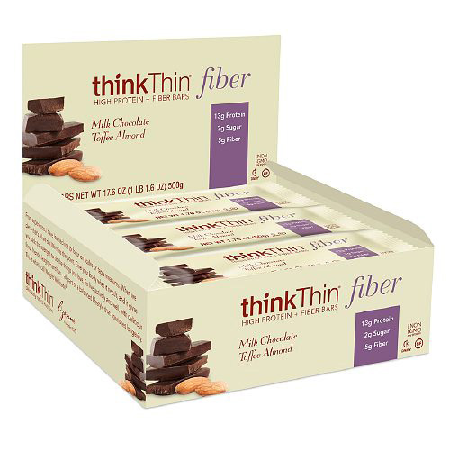 Think Products Bars - thinkThin Milk Chocolate Toffee Almond Protein plus Fiber - 1.76 oz - Case of
