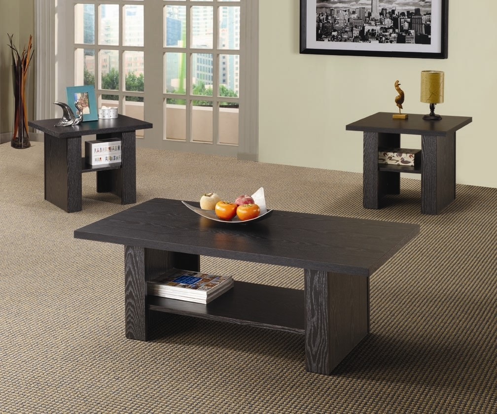table sets living room.  Coaster Furniture 3 Piece Wood Coffee Table Set Black Walmart com