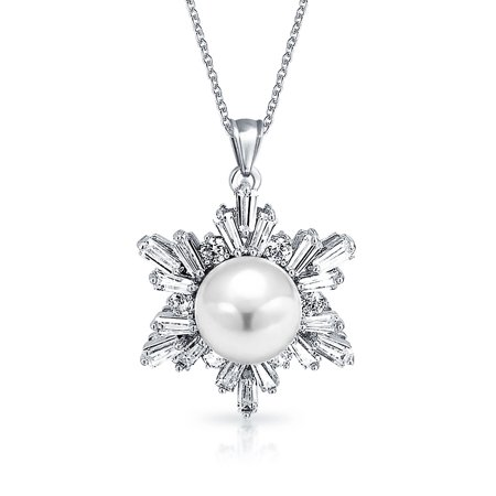 Rhodium Snowflake Pendant - Snowflake Simulated Pearl 8mm Pendant Necklace Winter Wedding CZ Rhodium Plated Brass 16 Inch Chain