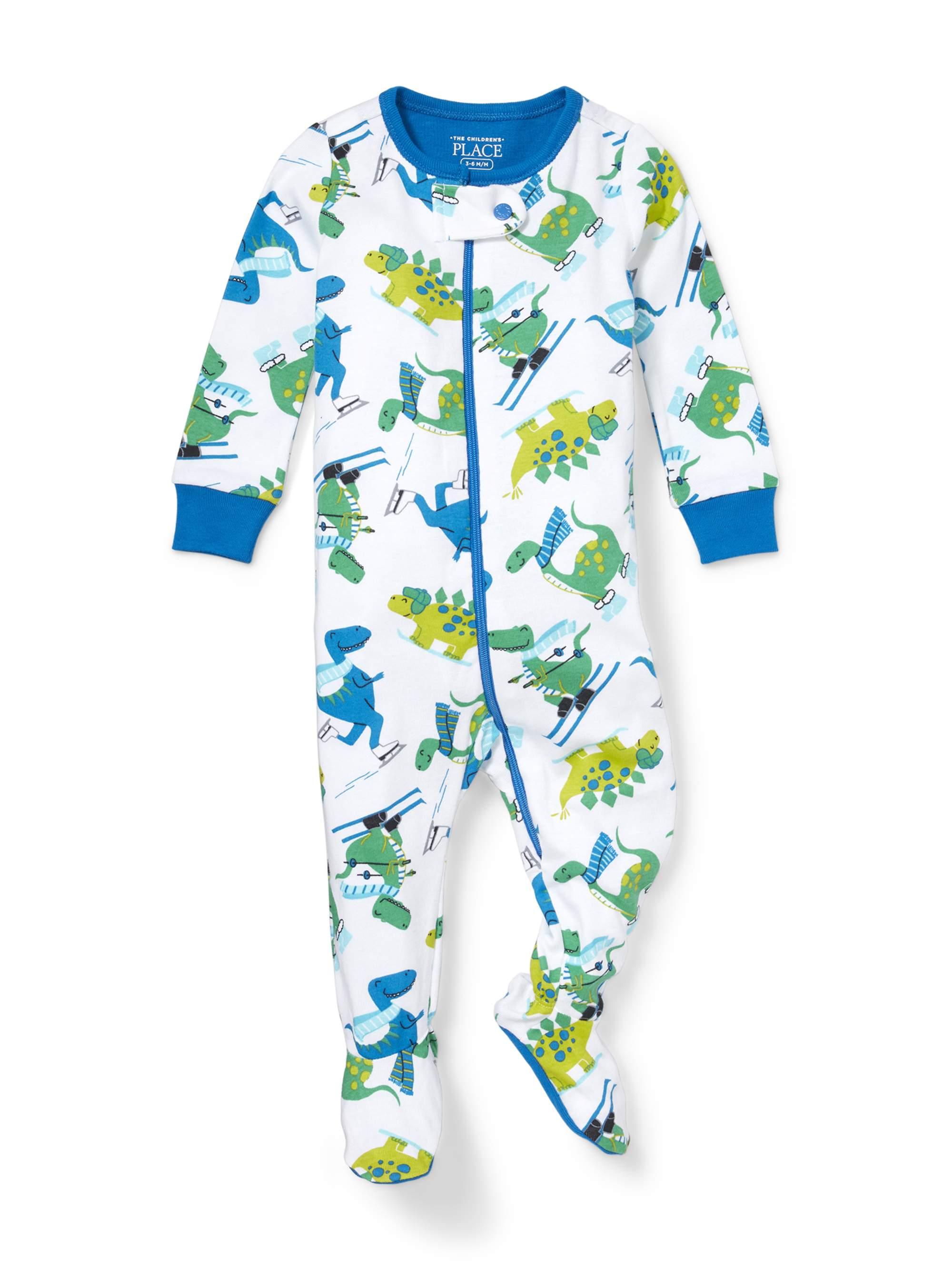Long Sleeve Skiing Dino Print Snug-Fit Footed Stretchie (Baby Boys & Toddler Boys)