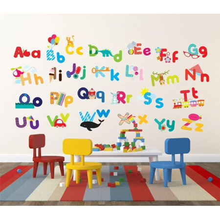 Whimsical Alphabet Wall Decal Sticker -