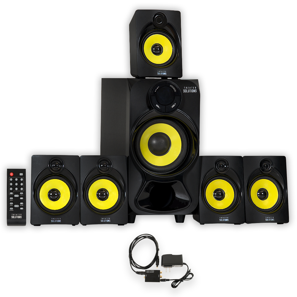 Theater Solutions TS518 Bluetooth Home Theater 5.1 Speaker System with FM Tuner and Optical Input