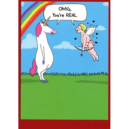 Recycled Paper Greetings Unicorn & Cupid You're Real Funny Valentine's Day Card - Unicorn Valentine