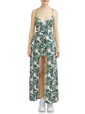 304b58a8099 Product Image Juniors  Tropical Printed Lace-Up Back Walkthrough Romper