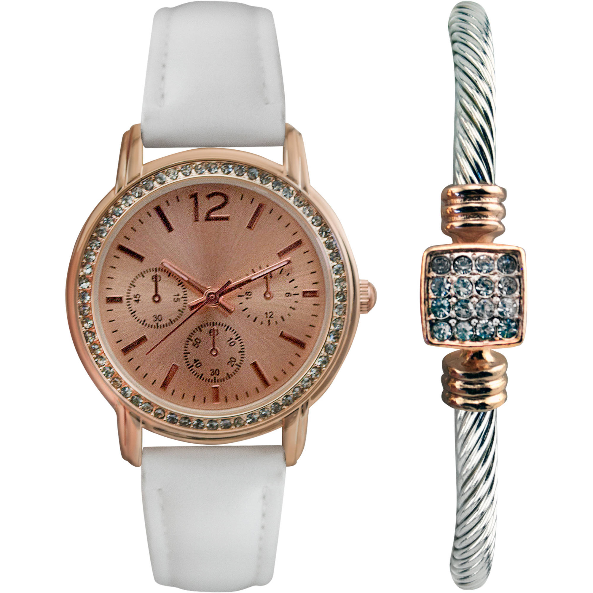Women's Rose Gold Dial Watch with White Strap Gift Set and Bangle Bracelet