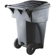 Rubbermaid Commercial 9W22GY Brute Rollout Waste Container, Square, Polyethylene, 95 Gallons, Gray