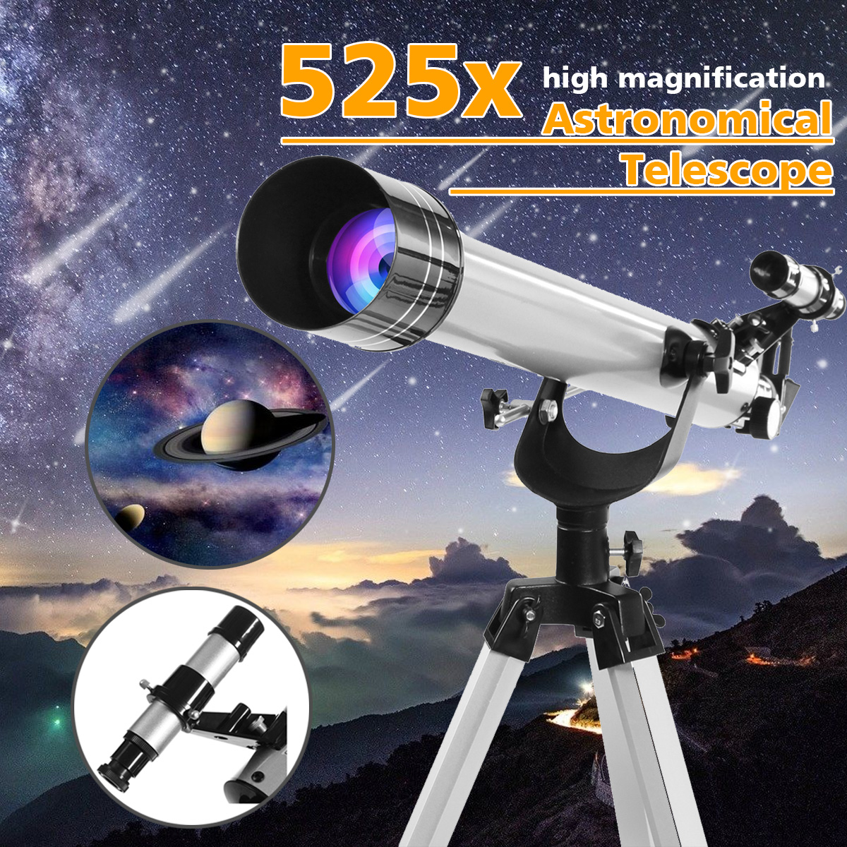700/60mm 525X Professional Refractive Outdoor Astronomical Telescope Tripod Eyepiece