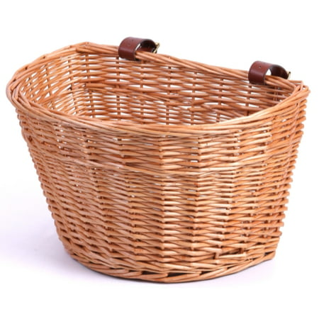 Wicker Front Bike Basket with Faux Leather Straps ()