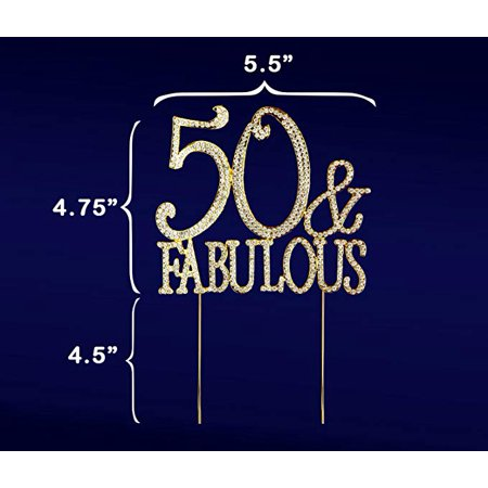 50th Birthday Party Favors Ideas (50 & Fabulous, 50th Birthday Cake Topper, Crystal Rhinestones on Gold Metal, Party Decorations,)