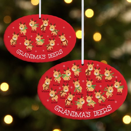 Personalized Her Little Deers Oval Christmas Ornament - Available in 2 (Little Lamb Personalized Plate)