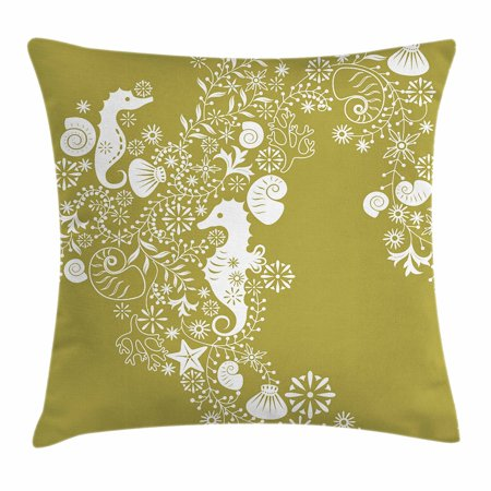 Sea Shells Throw Pillow Cushion Cover, Abstract Swirl and Floral Elements Seahorse Silhouette Pattern Tropical Animal, Decorative Square Accent Pillow Case, 18 X 18 Inches, Alpine White, by Ambesonne