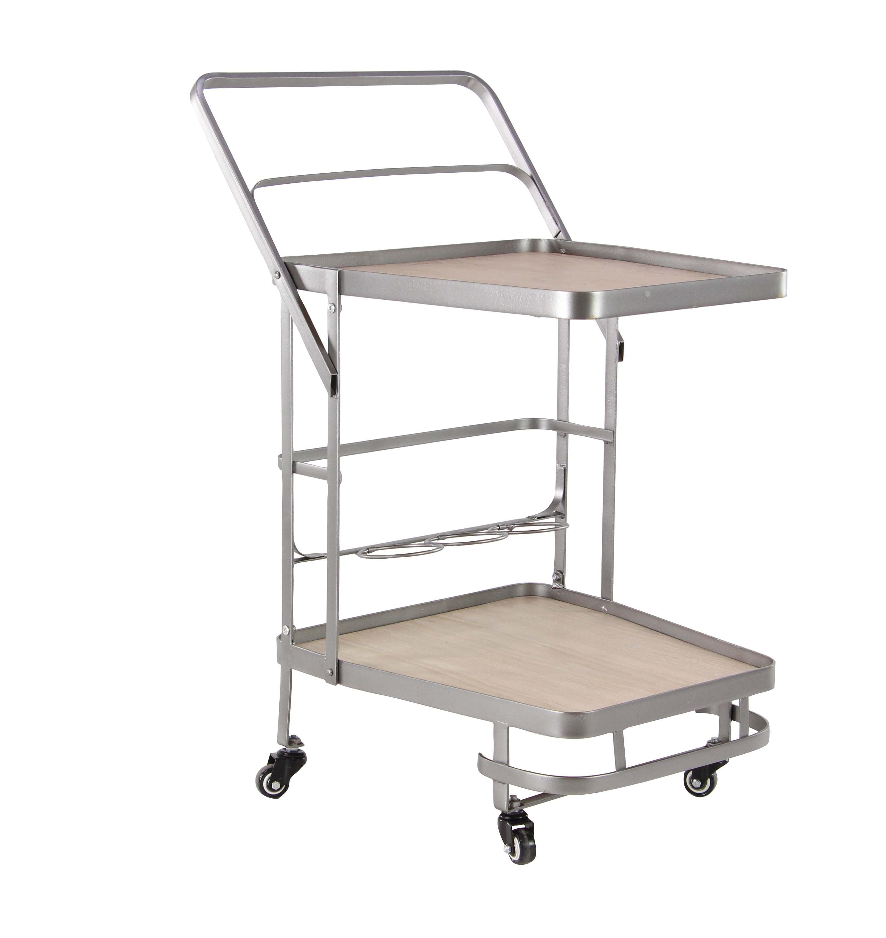 Decmode Modern Wood and Iron Two-Shelf Cart, Light Brown