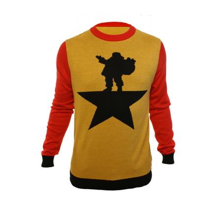 Ugly Christmas Party Sweater Men's Santa Star Hamilton Xmas Sweatshirt ()