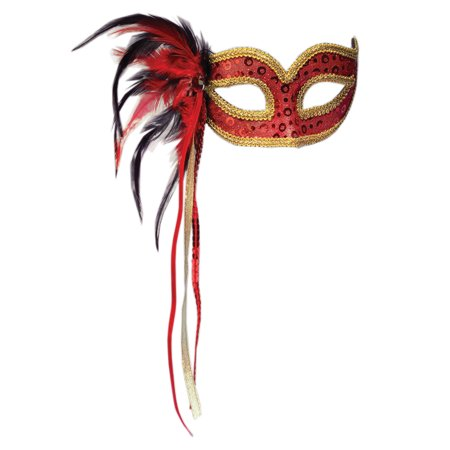 Forum Halloween Cosplay Women's Masquerade Feather Mask, Red, One-Size