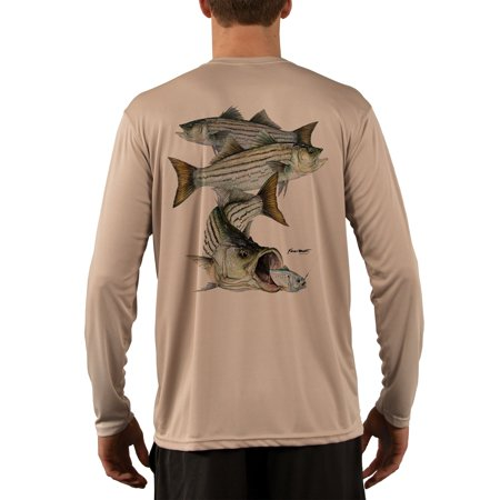 Striped Bass Montage Men's UPF 50+ UV/Sun Protection Long Sleeve T-Shirt