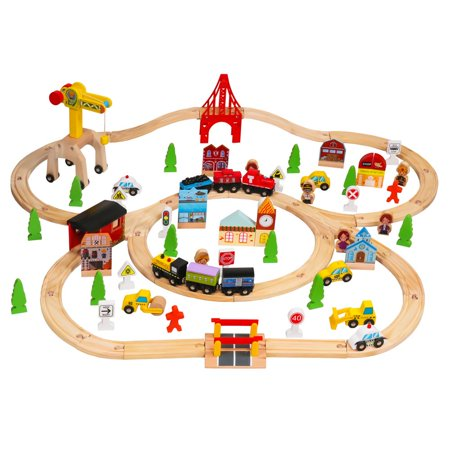 Zimtown Large Wood Train Set Track Railway Model with 100 Accessories Model Railroad Track Plans