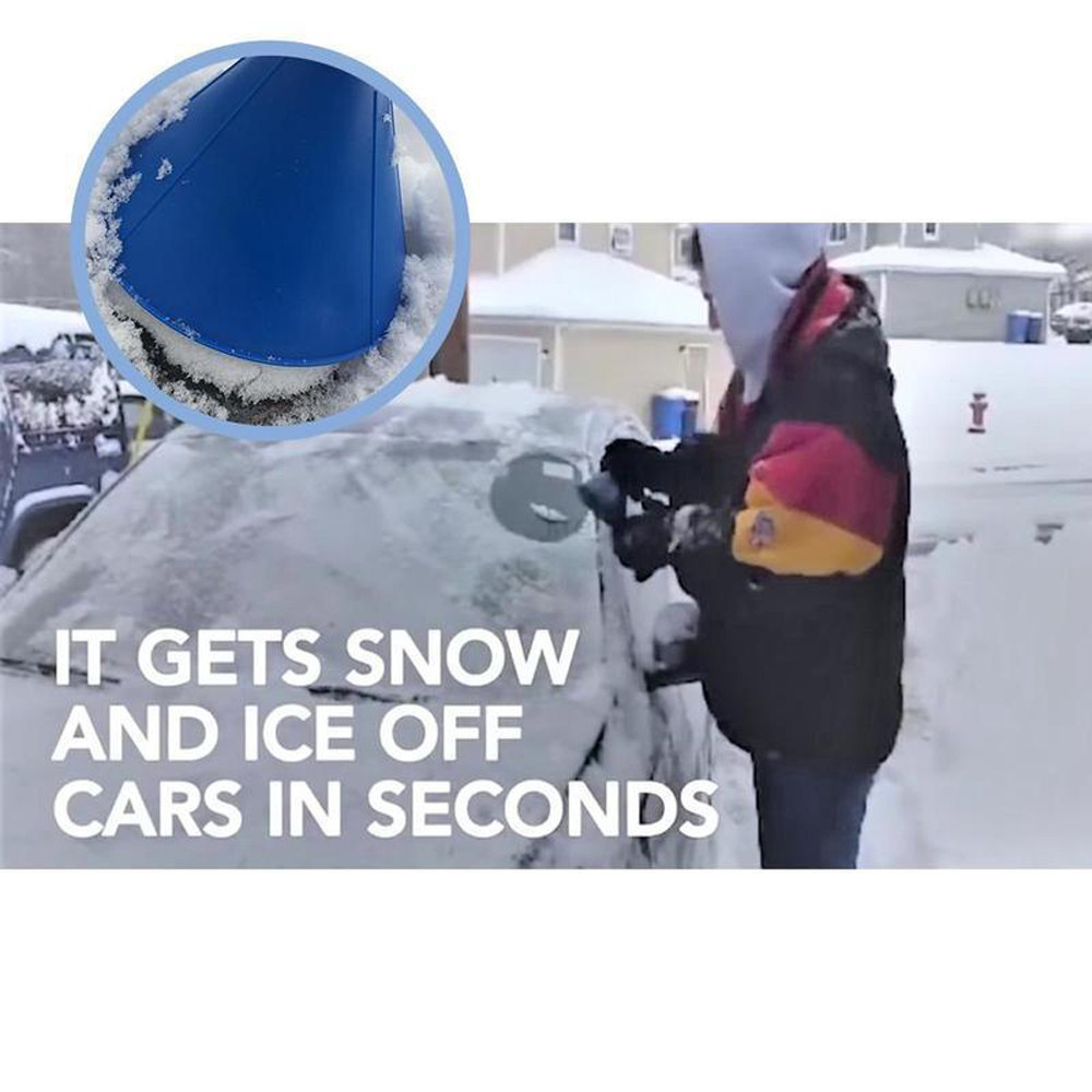 Magic Cone-Shaped Car Scraper Minelody Ice Scrapers for Car Windshield Magical Ice Car Snow Removal Shovel Tool Portable Cone Shaped Round Funnel Scraper