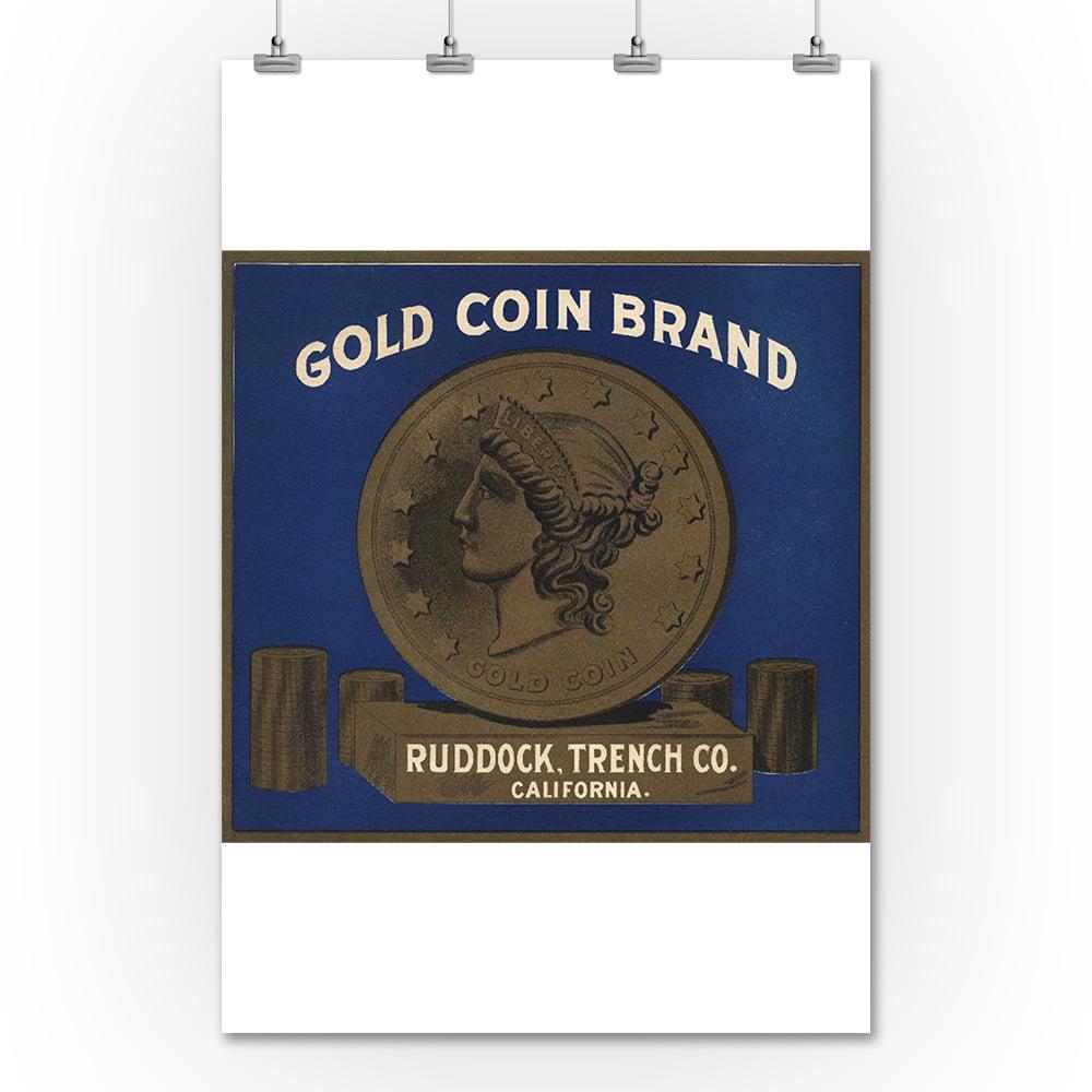 Lantern Press Gold Coin Brand - California - Citrus Crate...