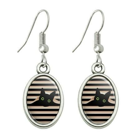 Black Cat In Window Novelty Dangling Drop Oval Charm Earrings Back Cat Earrings