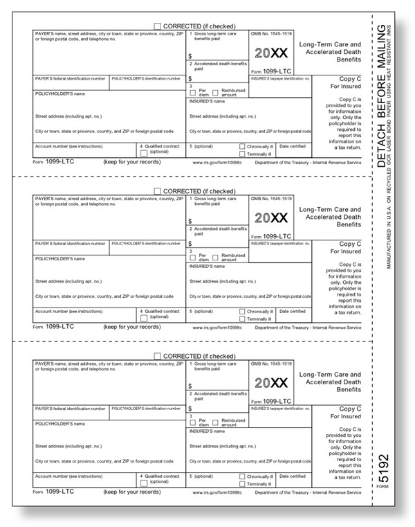 IRS Approved 1099-LTC Insured Copy C Tax Form - Walmart.com