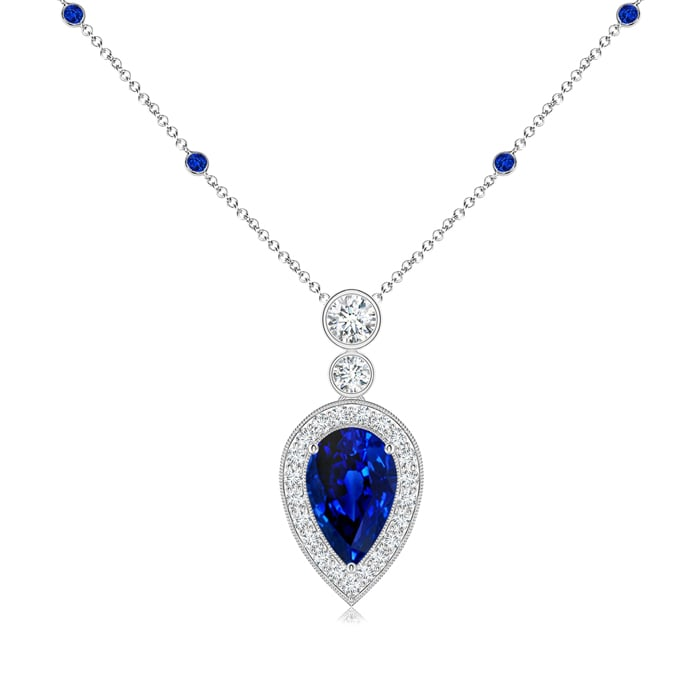 September Birthstone Pendant Necklaces Pear Blue Sapphire Necklace Pendant with Diamond Halo in 950 Platinum (8x5mm Blue... by Angara.com