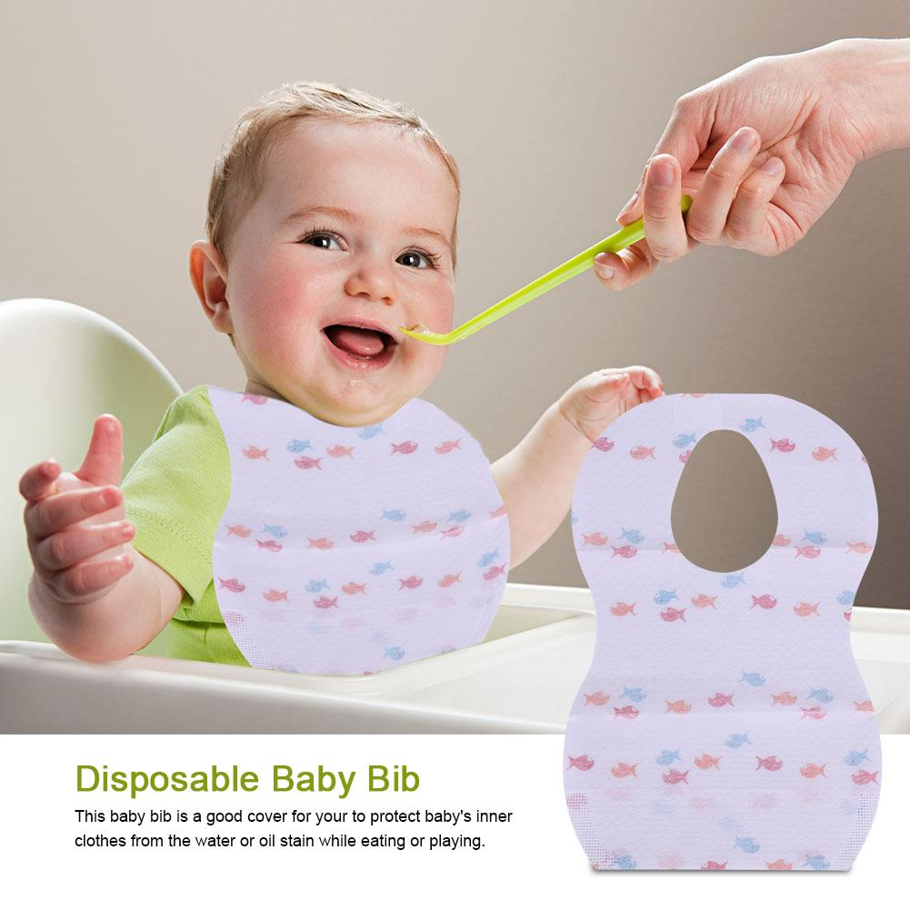 Hilitand 10Pcs Waterproof Disposable Baby Bibs with Large Pocket for Easy Feeding Eating, Adjustable Baby Bib, Waterproof Baby Bib